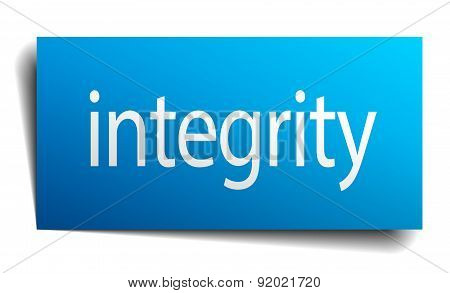 Integrity Blue Paper Sign On White Background
