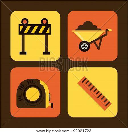 Construction design over brown background vector illustration