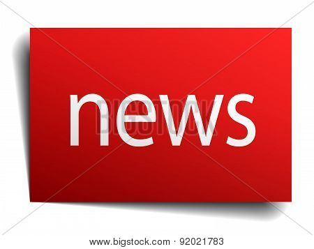 News Red Square Isolated Paper Sign On White