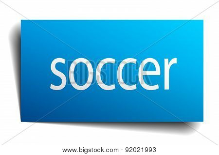 Soccer Blue Square Isolated Paper Sign On White
