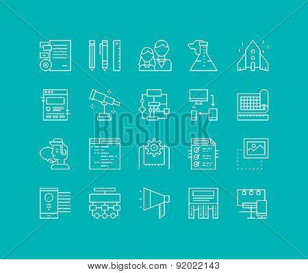 Brand Design Line Icons Set