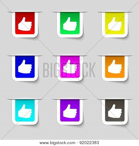 Like, Thumb Up Icon Sign. Set Of Multicolored Modern Labels For Your Design. Vector