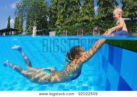 Laughing Child With Joyful Mother Swimming In The Pool