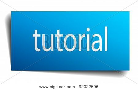 Tutorial Blue Paper Sign Isolated On White