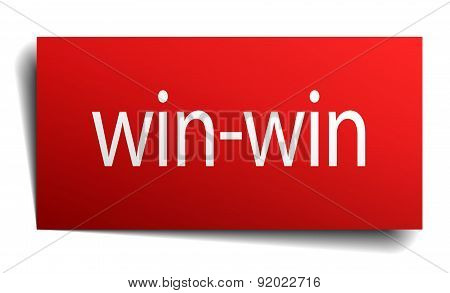 Win-win Red Square Isolated Paper Sign On White