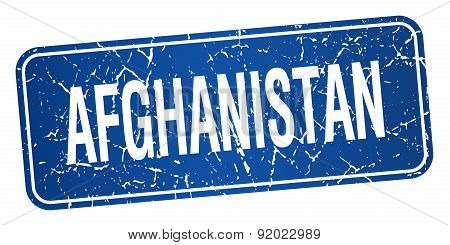Afghanistan Blue Stamp Isolated On White Background