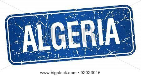 Algeria Blue Stamp Isolated On White Background