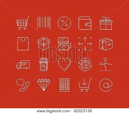 Retail Store Elements Line Icons Set