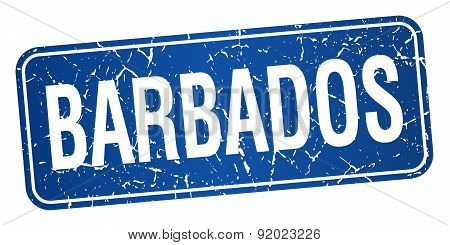 Barbados Blue Stamp Isolated On White Background