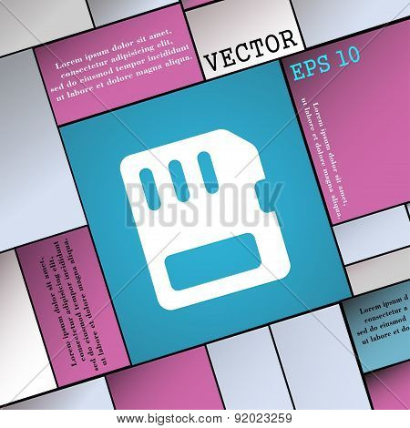 Compact Memory Card Icon Sign. Modern Flat Style For Your Design. Vector