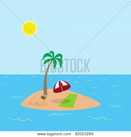 Illustration of tropical island with coconut, palm tree, umbrella and towel