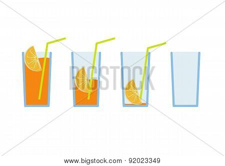 Vector illustration Set of orange juice coctail drink with green straw in phases from full to empty