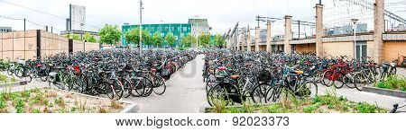 Bicycle Parking Area In Eindhoven Central Station