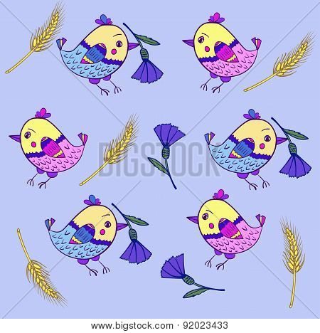 background pattern with birds cornflowers vector illustration