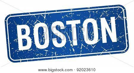 Boston Blue Stamp Isolated On White Background