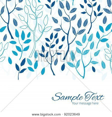 Vector blue forest horizontal border card template