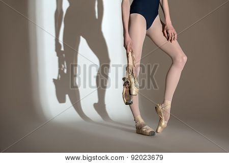 Cropping portrait of the legs graceful ballerina in a studio