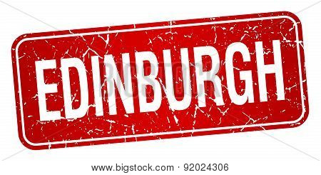 Edinburgh Red Stamp Isolated On White Background