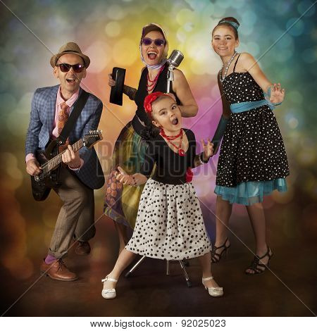 Rockabilly Family Band Having Fun