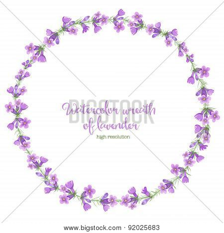 Watercolor wreath of lavender.