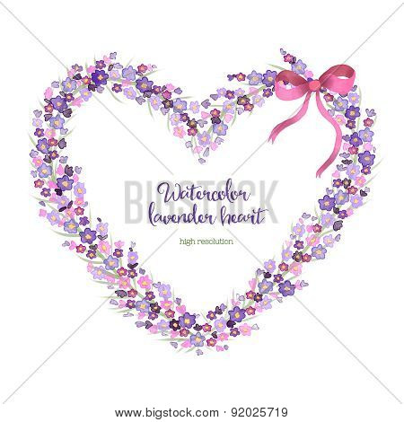 Watercolor heart-shaped wreath of lavender.