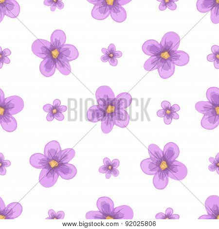 Vector watercolor lavender blossom seamless pattern.