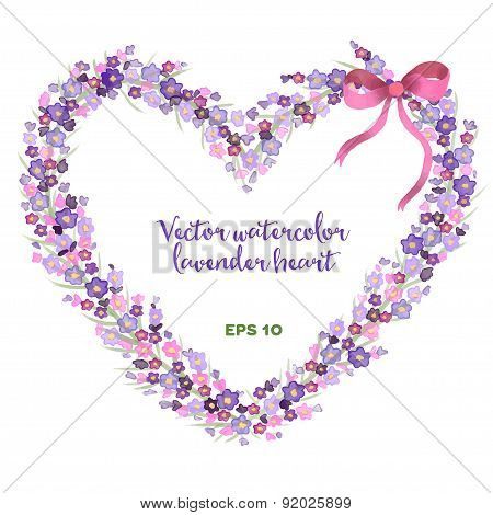 Vector watercolor heart-shaped wreath of lavender.