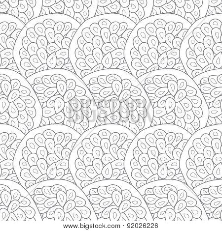 Vector line art texture waves abstract seamless pattern