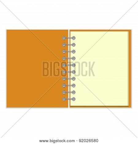 Open empty notebook with orange cover