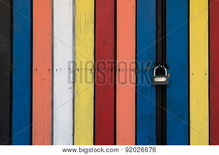 Locked Colorful Wooden Door