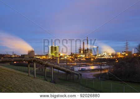 Pipeline And Industry At Night