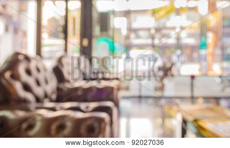 Blur Image Of Luxury Living Room For Background Usage.