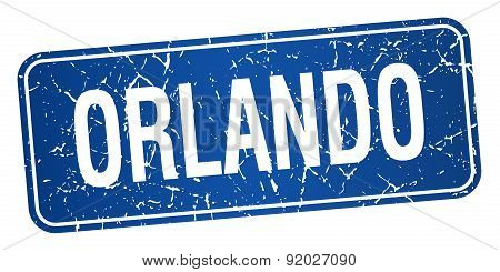 Orlando Blue Stamp Isolated On White Background