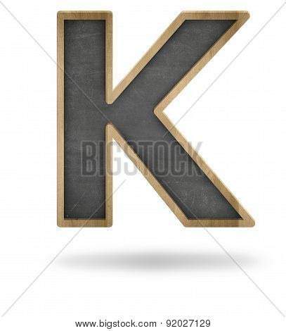 Black blank letter K shape blackboard