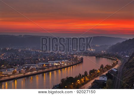 Red Sunset At Meuse River