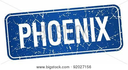 Phoenix Blue Stamp Isolated On White Background