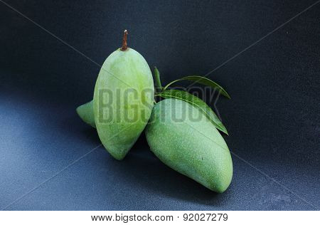 Green Mango Fruit Asia Black Background.