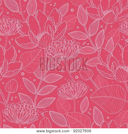 Vector Red White Line Art flowers seamless pattern