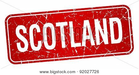 Scotland Red Stamp Isolated On White Background
