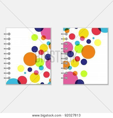 Notebook covers design with colorful circles
