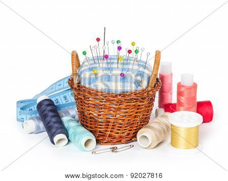 Wicker Basket With A Cushion For Needles, Threads And Measuring Tape
