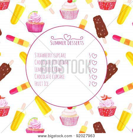 Cupcakes And Ice Cream Watercolor Vector Menu Card