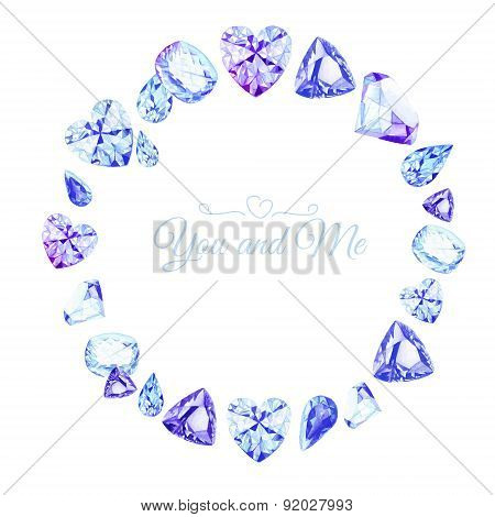 Blue Diamonds Watercolor Round Vector Design Frame
