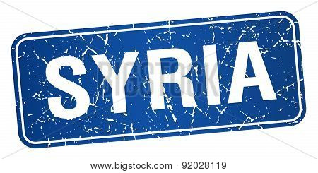 Syria Blue Stamp Isolated On White Background