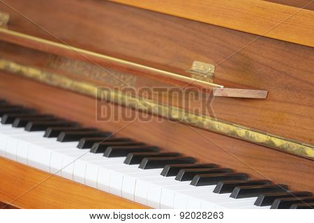 The image of a closeup keyboard of a piano