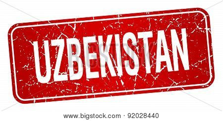 Uzbekistan Red Stamp Isolated On White Background