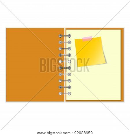 Open notebook with yellow sticker