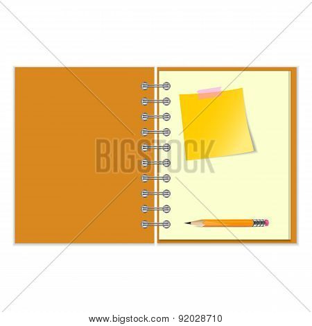 Open notebook with yellow sticker and pencil