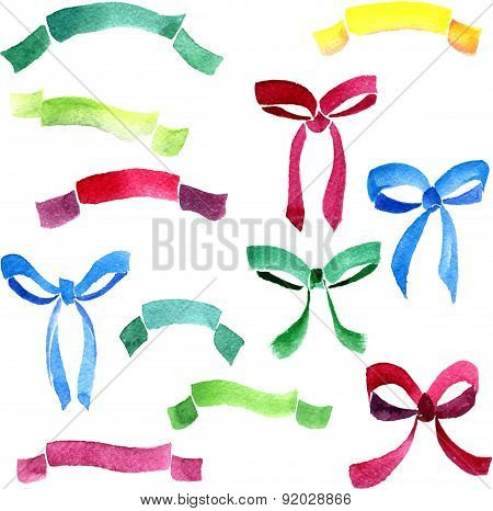 set of watercolor drawing ribbons