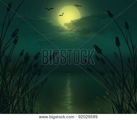 Full moon river landscape illustration.